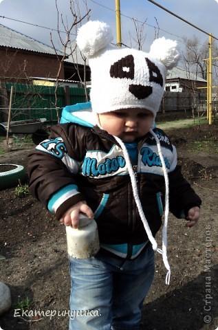 Вязание спицами - Шапка панда