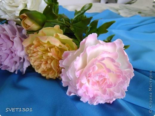 Слепила махровые пионы и по ходу работы сфотографировала процесс лепки цветка .  фото 17