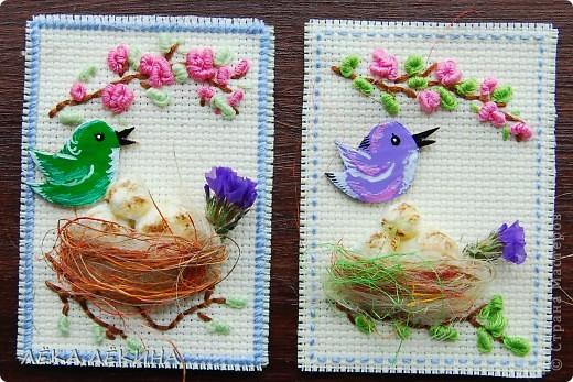 Итак новая серия. Основа вышивка в тенике Рококо. Птички самодельные чипборды, раскрашенные акрилом и покрытые лаком. Моя любимая сизаль и сухоцветы. Вся серия для кредиторов.  фото 2