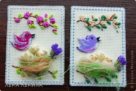 Итак новая серия. Основа вышивка в тенике Рококо. Птички самодельные чипборды, раскрашенные акрилом и покрытые лаком. Моя любимая сизаль и сухоцветы. Вся серия для кредиторов.  фото 4