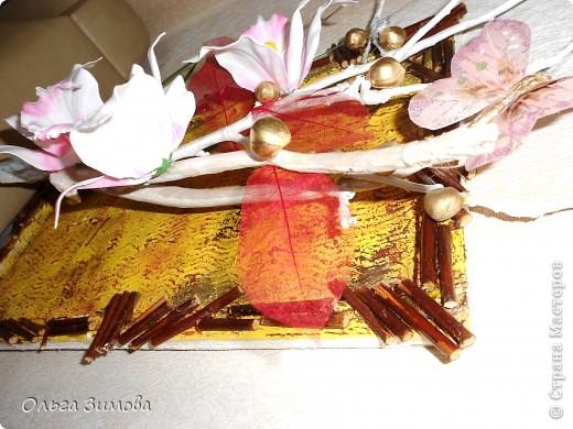 Вот такое экзотическое панно я сварганила в подарок на день рождения.  Скоро оно  отправится в Волгоград.  Золотые шарики это крашенный фундук. попробовала задействовать скелетированые листья. Правда они теряются на общем фоне.  Основной фон- шпатлевка с клеем ПВА фото 8
