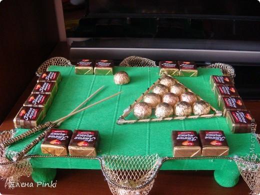 Бильярд из конфет пошаговые