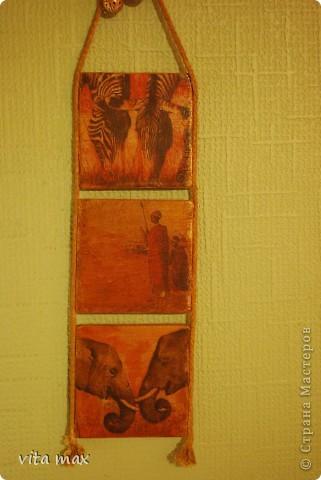 Привет всем жителям Страны мастеров! Вот решила выложить детали своего интерьера!Очень люблю колониальный стиль и когда мне попались такие салфеточки с африканскими мотивами,было решено сделать такие панно!Муж напилил из слоеной фанеры заготовки и вот результат! фото 2
