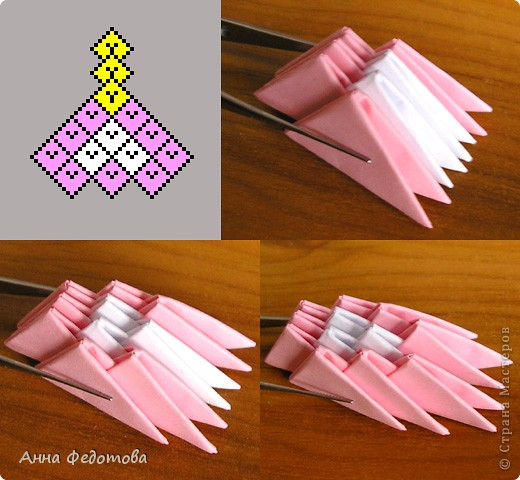 Из модулей 1/32 А4 (5,25х3,7 см) цветочки получаются большие, диаметром по 11 см. Для каждого цветочка нужно 120 модулей. Для вазочки – 474 модуля. МК треугольного модуля: https://stranamasterov.ru/technic/origami_module?tid=451 фото 2