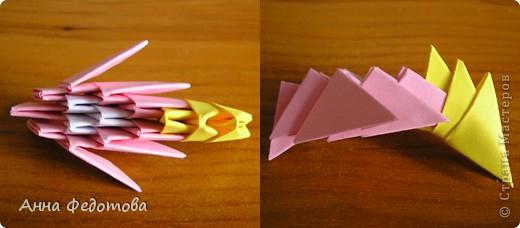 Из модулей 1/32 А4 (5,25х3,7 см) цветочки получаются большие, диаметром по 11 см. Для каждого цветочка нужно 120 модулей. Для вазочки – 474 модуля. МК треугольного модуля: https://stranamasterov.ru/technic/origami_module?tid=451 фото 4