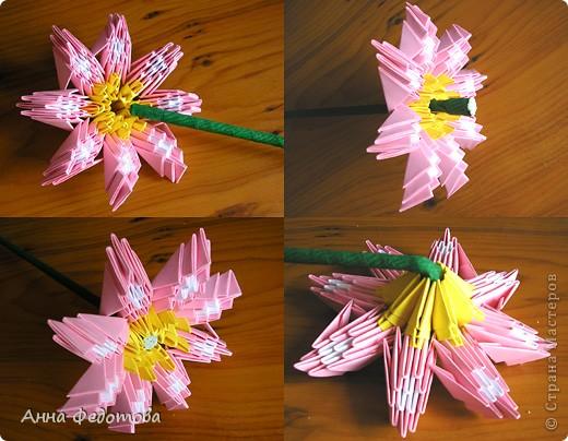 Из модулей 1/32 А4 (5,25х3,7 см) цветочки получаются большие, диаметром по 11 см. Для каждого цветочка нужно 120 модулей. Для вазочки – 474 модуля. МК треугольного модуля: https://stranamasterov.ru/technic/origami_module?tid=451 фото 8