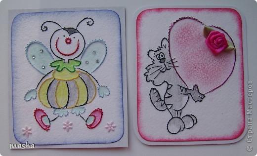 Попались очень красивые отрисовки, что сразу появилось желание сделать еще карточки АТС, но когда их срисовала на кальку поняла, что они великоваты для АТС. Но все равно вышила, эти картиночки отправлю девочкам в подарок, может им найдется применение (на открыточки, коробочки), я буду только рада! фото 2