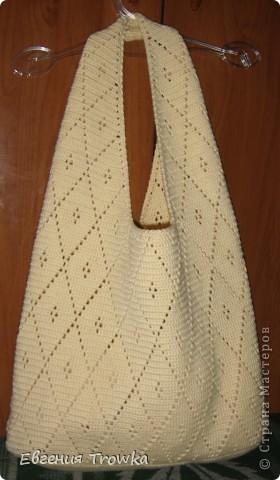 """Легкая летняя сумка. Удобная, вместительная. Подходит для ежедневного использования, для поездок, для пляжного отдыха. Компактна, занимает мало места для хранения. Состав: 100% хлопок """"Стелла"""" 50гр. 145м., крючок №2, размер сумки ширина 34см, высота 27см, с ручками 50см"""