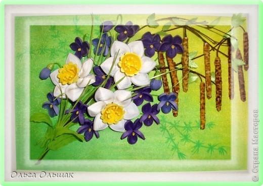 Картина панно рисунок Мастер-класс Квиллинг Первомайский букетик+МК серёжек Бумажные полосы Крупа Материал природный фото 1