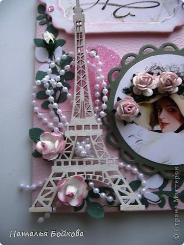 Наступила весна  - время цветения и дней рождения.  Эти события и вдохновили меня на создание  этой открытки. Эта открытка   в подарок моей  подруге и куме ( одновременно), надеюсь ей понравится... фото 2