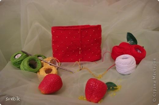 """Ура!!! Я успела связать сумочку!! Так как я вяжу крючком относительно недавно, а с бисером в вязании сталкиваюсь в первый раз( не считая сковородки для конкурса """"Рапунцель""""), то выбрала не сложную модель... фото 3"""
