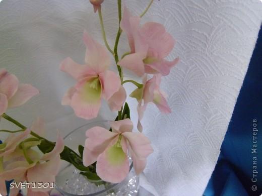 Другой подруге на день рождения слепила три ветки орхидеи. Планирую слепить ещё две, но не уверенна, что успею. Пока такой букет получился. фото 4