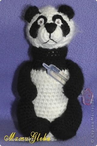 Панда, пингвин и то, из чего они сделаны - баночка от Актимеля. Внутри в первом случае - монетки, во втором - горох. фото 2