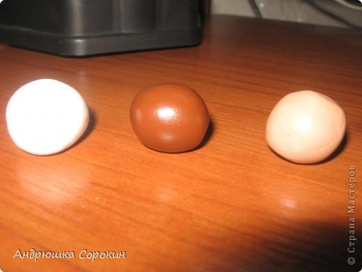 Для начала возьмем пластику трех цветов: Белый, Коричневый, Бежевый. Скатываем из них кругляшки... фото 1