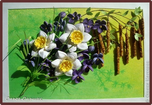 Картина панно рисунок Мастер-класс Квиллинг Первомайский букетик+МК серёжек Бумажные полосы Крупа Материал природный фото 10