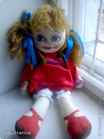 """Весняночкой эту куклу назвал один посетитель моей мастерской. Когда я его спросила """"Почему """"Весняночка""""?, он ответил, что она по весеннему яркая и веснушчатая! фото 3"""