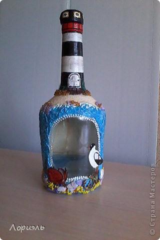 """Я очень соскучилась по морю,вот и родилась у меня такая бутылочка  и назвала я её """"Старый Маяк"""" (вид спереди) фото 1"""