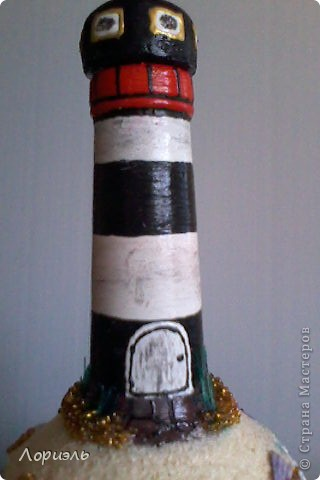 """Я очень соскучилась по морю,вот и родилась у меня такая бутылочка  и назвала я её """"Старый Маяк"""" (вид спереди) фото 4"""