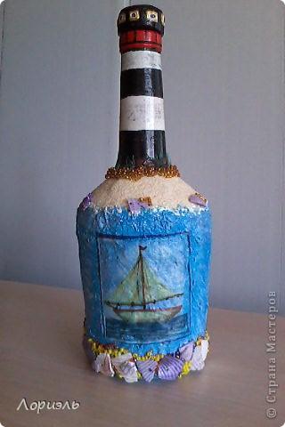 """Я очень соскучилась по морю,вот и родилась у меня такая бутылочка  и назвала я её """"Старый Маяк"""" (вид спереди) фото 2"""