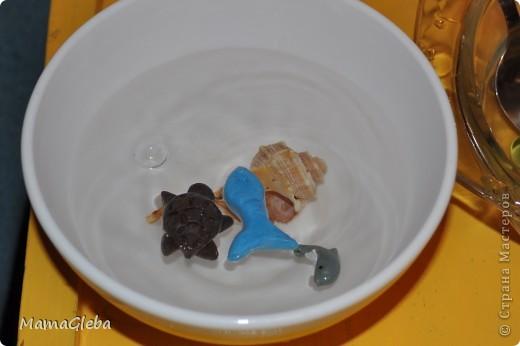 Вот таким был наш первый с Глебом аквариум. Сыну не было 2 лет. Делали рыбок из плавающего пластилина. Ему нравилось живность ложкой вынимать, воду переливать, потом опять рыбку и черепаху в воду запускать, ракушки класть.