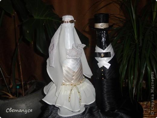 Доброго времени суток, дорогие!!!! Ну вот и  мне подвернулся случай сделать бутылочки ...а вернее жениха и невесту.... фото 6