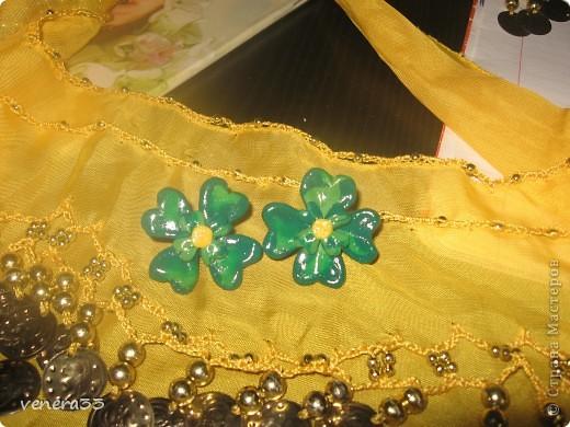 Мои первые сережки из пластики. фото 5