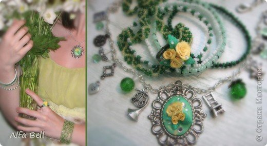 Бело-голубой комплект: - 3 ожерелья из бисера (делала мать моего парня) - 2 фенечки (я делала ещё лет в 13) - 2 заколки (идея чтобы сохранить расположения ожерелья) - кольцо. материалы: - масса для лепки http://orange-elephant.ru/product - стразы - лак для ногтей - бисер фото 2