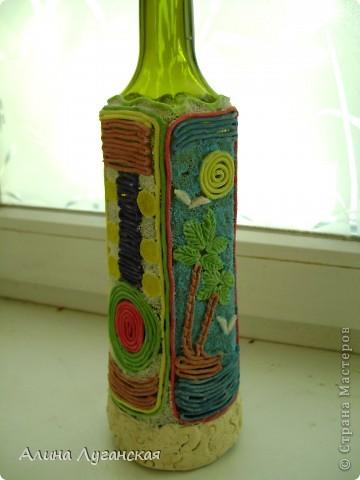 Трио бутылок. Тесто,роспись,декупаж. фото 2