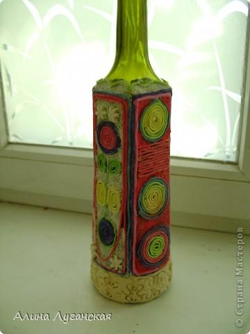 Трио бутылок. Тесто,роспись,декупаж. фото 3