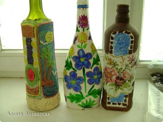 Трио бутылок. Тесто,роспись,декупаж. фото 1
