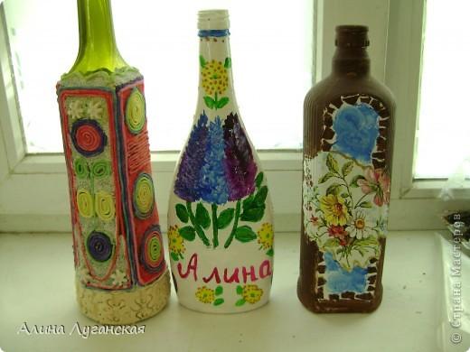 Трио бутылок. Тесто,роспись,декупаж. фото 5