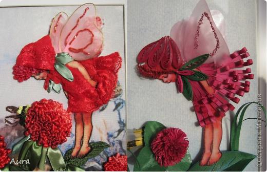 Приветствую всех!  У меня сегодня ЮБИЛЕЙ - 2 года в СМ! Отмечаем-с :)) Этой зимой я наткнулась на Цветочных феечек Cicely Mary Barker и тут же решила сделать их в квиллинге. Первую картинку я мучила долго и отложила, не доделав - так и лежит:( ... И вдруг я увидела у Изуля вербеновую фею http://stranamasterov.ru/node/348773, вышитую ленточками, и понеслось! Найти термопереводную бумагу мне оказалось не по силам, но в Китае легче и дешевле (!) заказать готовый набор – хотя пришлось ограничиться тем, что было у производителя, но варианты мне понравились. Лентами я вышивала впервые и процесс порадовал, равно как и результат: быстро и эффектно! Клеверные феи стали первыми и за 3 дня были готовы - за счет моего энтузиазма и терпения домашних:)) Размер вышивки внутри паспарту 22 на 31 см. фото 3