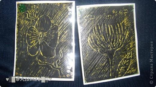 """Эта серия выполнена в технике граттаж, """"Цветы и насекомые"""" фото 4"""