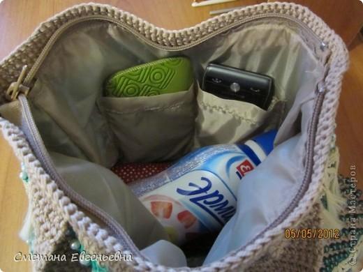Вот такая летняя сумка связалась для конкурса. Спасибо Ирине Голубке. Благодаря ей в комплект к новым босоножкам добавилась эта нарядная сумочка. Размеры 30см*28см.  фото 10