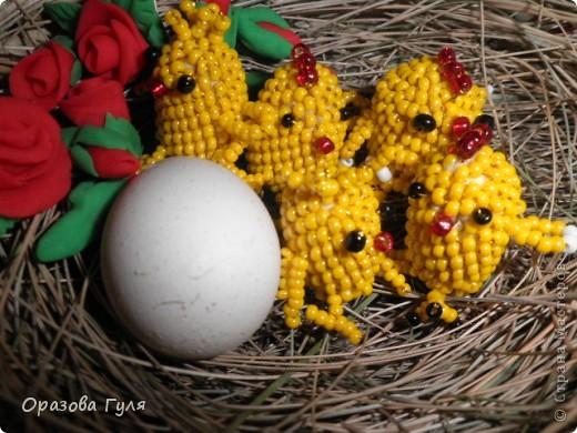 Цыплята из помпонов и бисера. фото 5