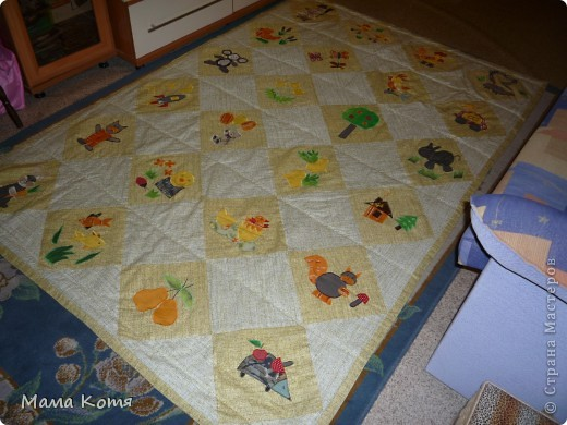 Лоскутное одеяло с аппликациями фото 1