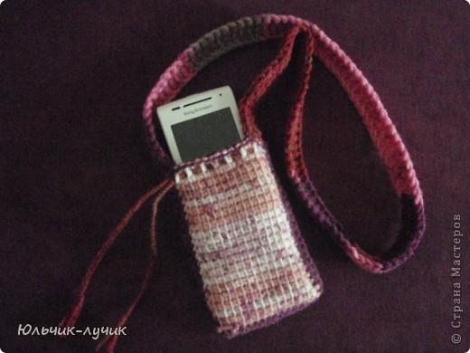 Вязание крючком - Чехол для телефона в технике тунисского вязания.