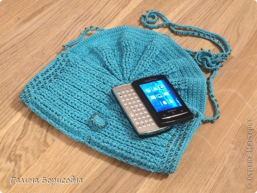 Гардероб Презент от Голубки Вязание крючком Бирюзовая сумочка с бисером Бисер Пряжа фото 6