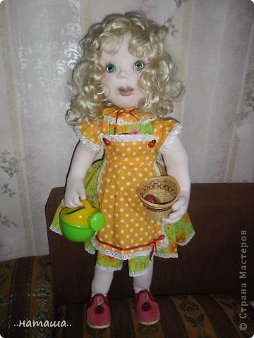 Здравствуйте!!! Так понравилось делать кукол, не оторваться! Вчера сделала ещё такую куколку. Рост 84 см. фото 1