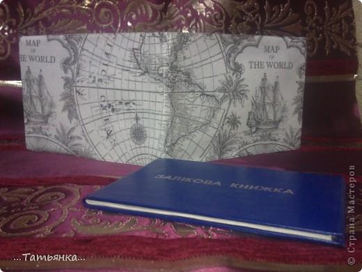 Сын учится в милицейской академии, долго думала, какую обложку для зачётной книжки можно сделать. Чего-то  связанного с милицией не нашла, а применила салфетку с картой мира. фото 3