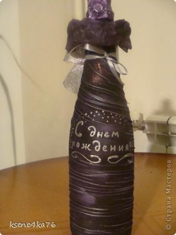 Вот и я попробовала задекорировать бутылочки  на подарки.  Вот что получилось... фото 3