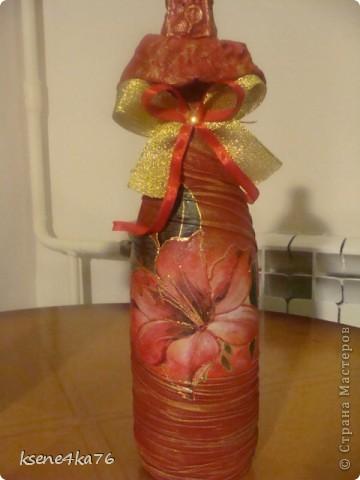 Вот и я попробовала задекорировать бутылочки  на подарки.  Вот что получилось... фото 4