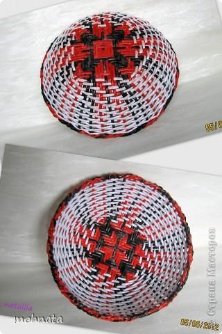 Всем привет! Долго любовалась мараканскими тарелочками Милены http://stranamasterov.ru/node/272246?c=favorite и вот решилась сама. Ну а вам судить насколько хорошо получились!? Трубочки покрашены Грунтовка + Гуашь. Диаметр по верху 22см. фото 2