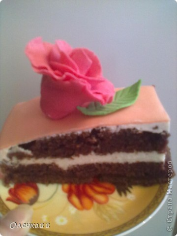 Вот такой у меня получился первый опят с мастикой. Сделала маме на день рождения торт. Лепить все начала заранее, чтобы подсохли цветочки.Понимаю, что корявенький получился. Но всем понравился.А знакомый, кода уплетал торт, вообще сначала подумал, что цветы не съедобные)))) фото 3