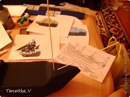 """Здравствуйте!  Представляю вам, пиратский корабль """"Черная жемчужина""""! сделан мной в подарок моему родному брату на  33-летие!!!  Ниже я делюсь с вами МК :)  Начнем! как я делала корабль.... фото 17"""