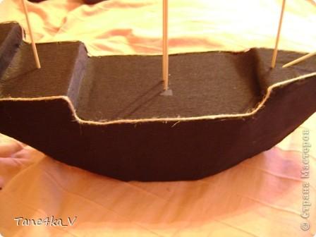 """Здравствуйте!  Представляю вам, пиратский корабль """"Черная жемчужина""""! сделан мной в подарок моему родному брату на  33-летие!!!  Ниже я делюсь с вами МК :)  Начнем! как я делала корабль.... фото 19"""