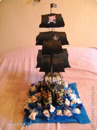 """Здравствуйте!  Представляю вам, пиратский корабль """"Черная жемчужина""""! сделан мной в подарок моему родному брату на  33-летие!!!  Ниже я делюсь с вами МК :)  Начнем! как я делала корабль.... фото 57"""