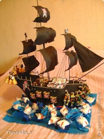 """Здравствуйте!  Представляю вам, пиратский корабль """"Черная жемчужина""""! сделан мной в подарок моему родному брату на  33-летие!!!  Ниже я делюсь с вами МК :)  Начнем! как я делала корабль.... фото 58"""