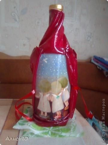 Декор предметов Декупаж Окно в Париж Бутылки стеклянные Ткань фото 5
