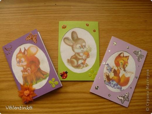 Делала в прошлом году вот такие открытки с эмитацией вышивки. фото 1